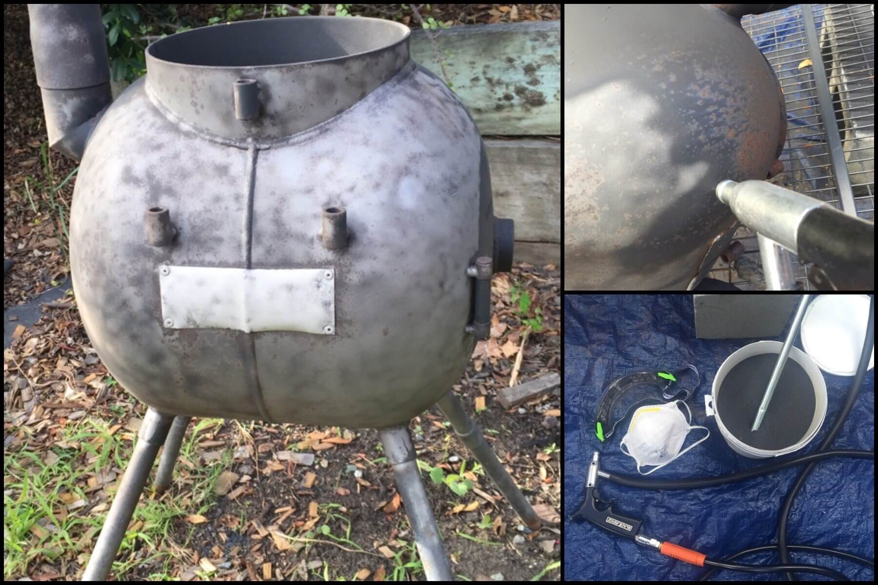 Cleaning and Repainting a Rusty Ozpig Using a Sandblaster