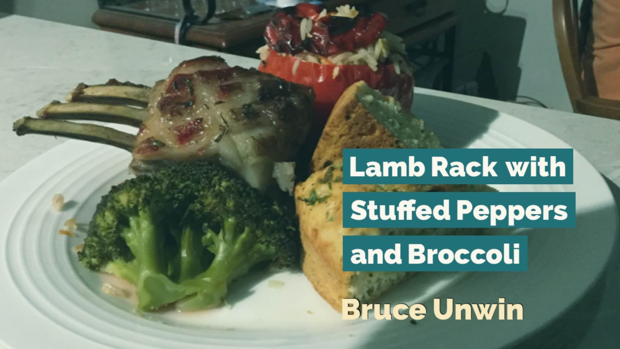 Lamb Rack with Stuffed Peppers and Broccoli | Bruce Unwin