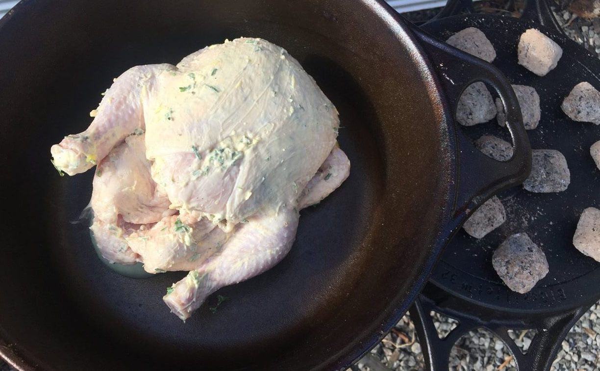 Camp Oven Roast Chicken | The Camp Oven Cook