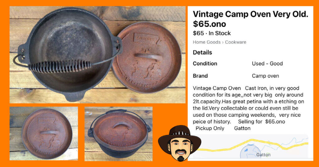 image of a camp oven for sale that is not actually old - how to identify a vintage camp oven.
