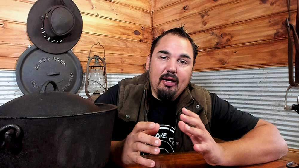 photo of mick talking about camp oven popcorn